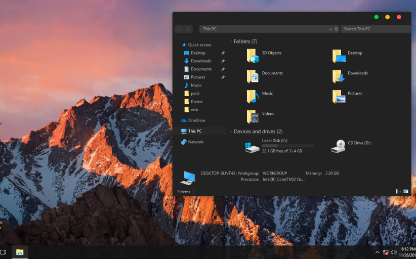 macOS Black ThemePack for Win 10RS3