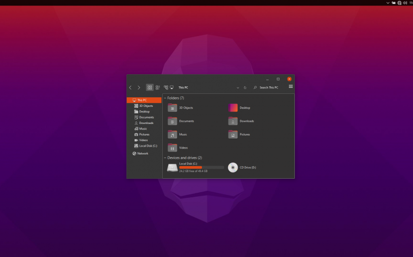 Ubuntu Groovy Gorilla Skin Pack for Windows 10