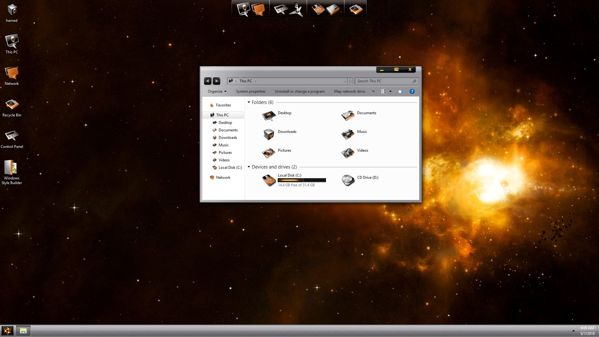 LightMatter Gold SkinPack for Windows 7\10