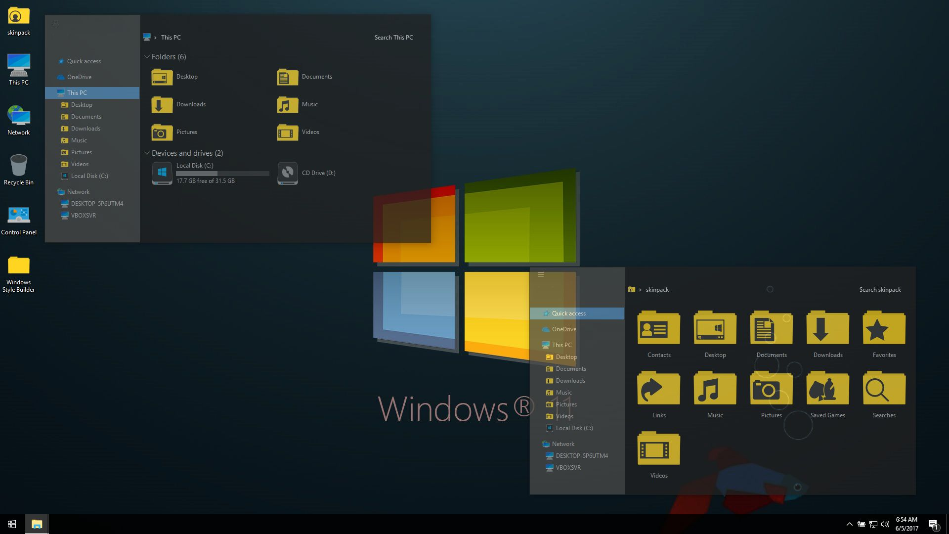 Windows 11 Dark SkinPack for Win10 RS4