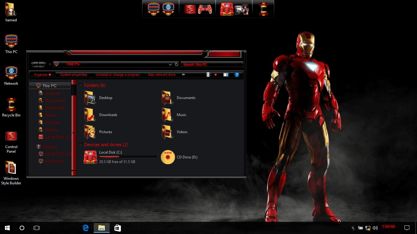 Iron Man SkinPack for Windows 7\8.1\10 19H1 19H2 20H1