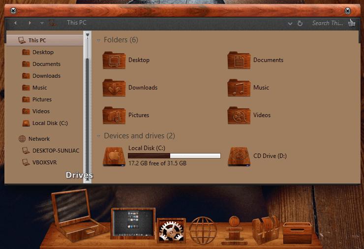 macOS Wood SkinPack for Windows 7\8.1\10 19H2