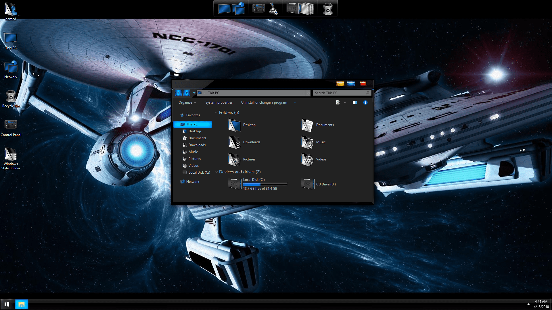 Star Trek Black Red SkinPack for Win7/10 19H2