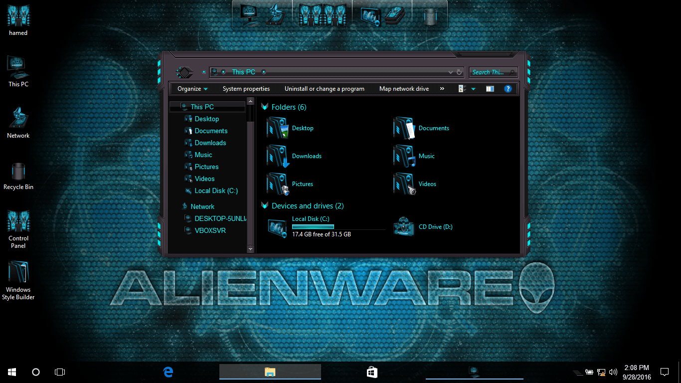 Alienware Inspired SkinPack for Windows 7\8.1\10 19H2