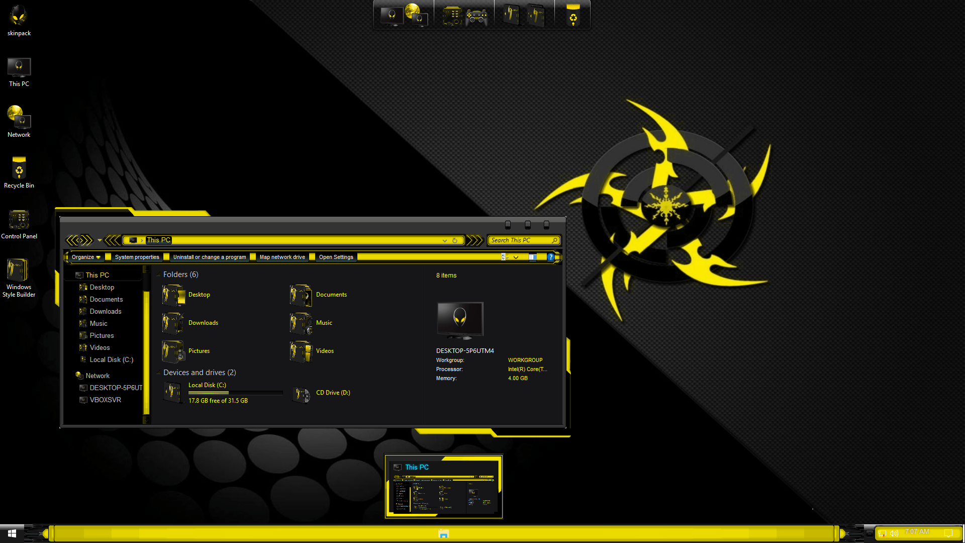AlienXgold SkinPack for Windows 10 and 7