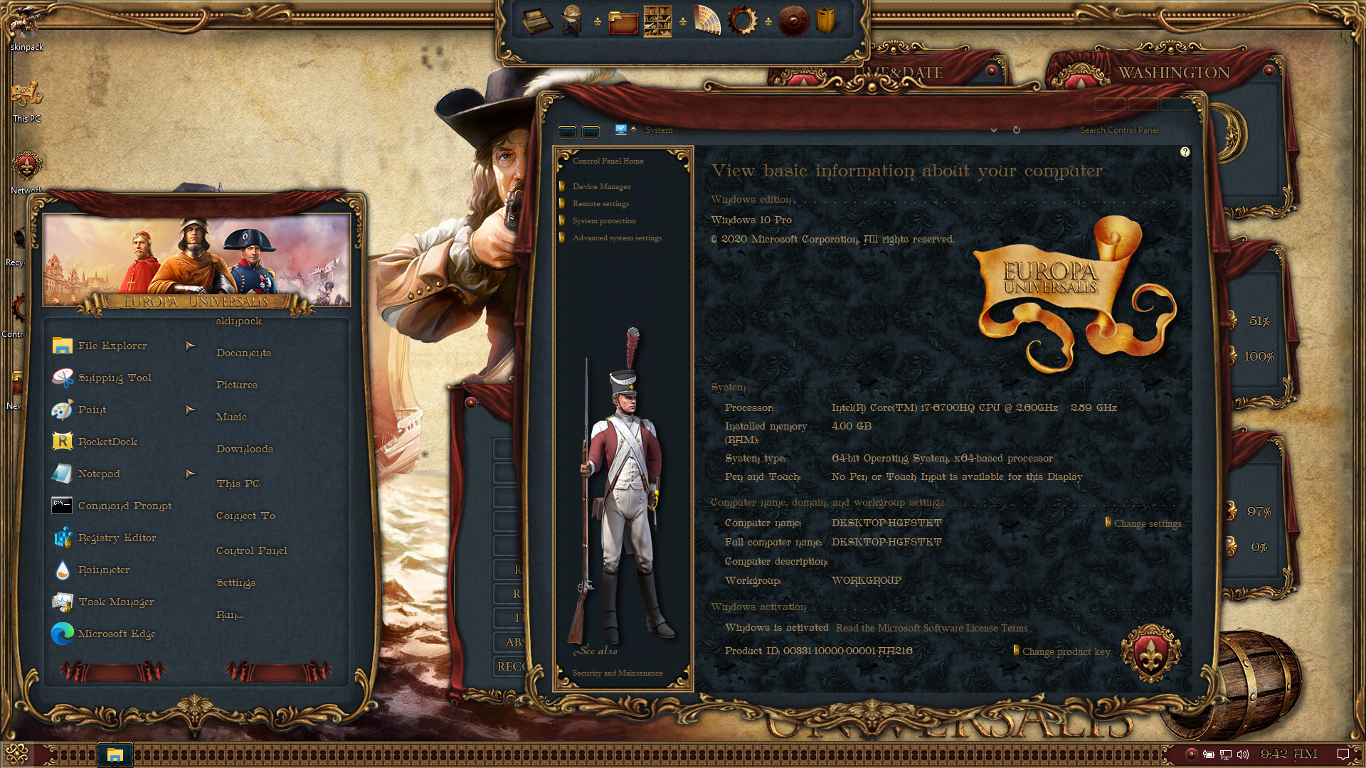 EUROPA UNIVERSALIS Premium SkinPack for Windows 10