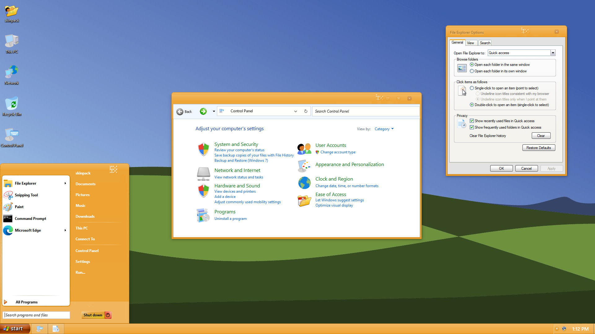 XP WaterColor Orange Skin Pack for Windows 10