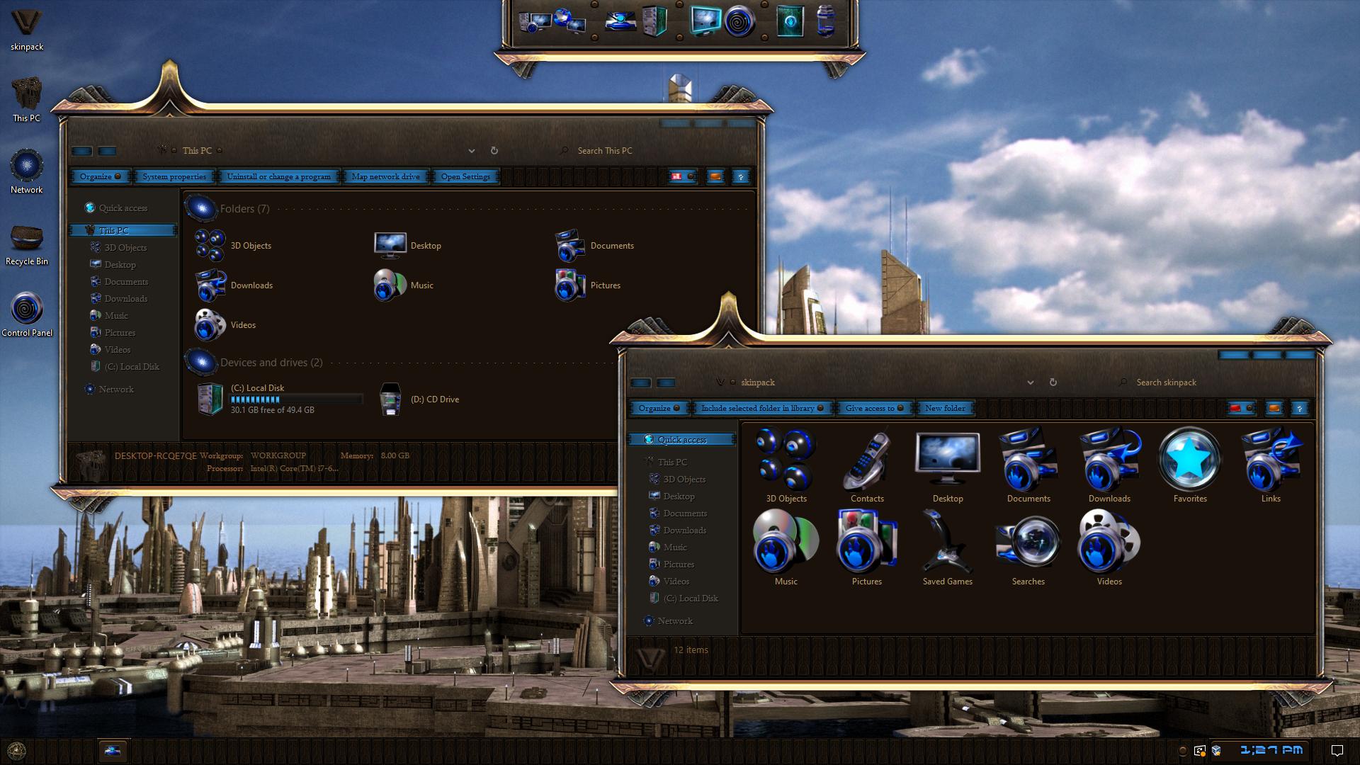STARGATE ATLANTIS Premium SkinPack for Windows 10