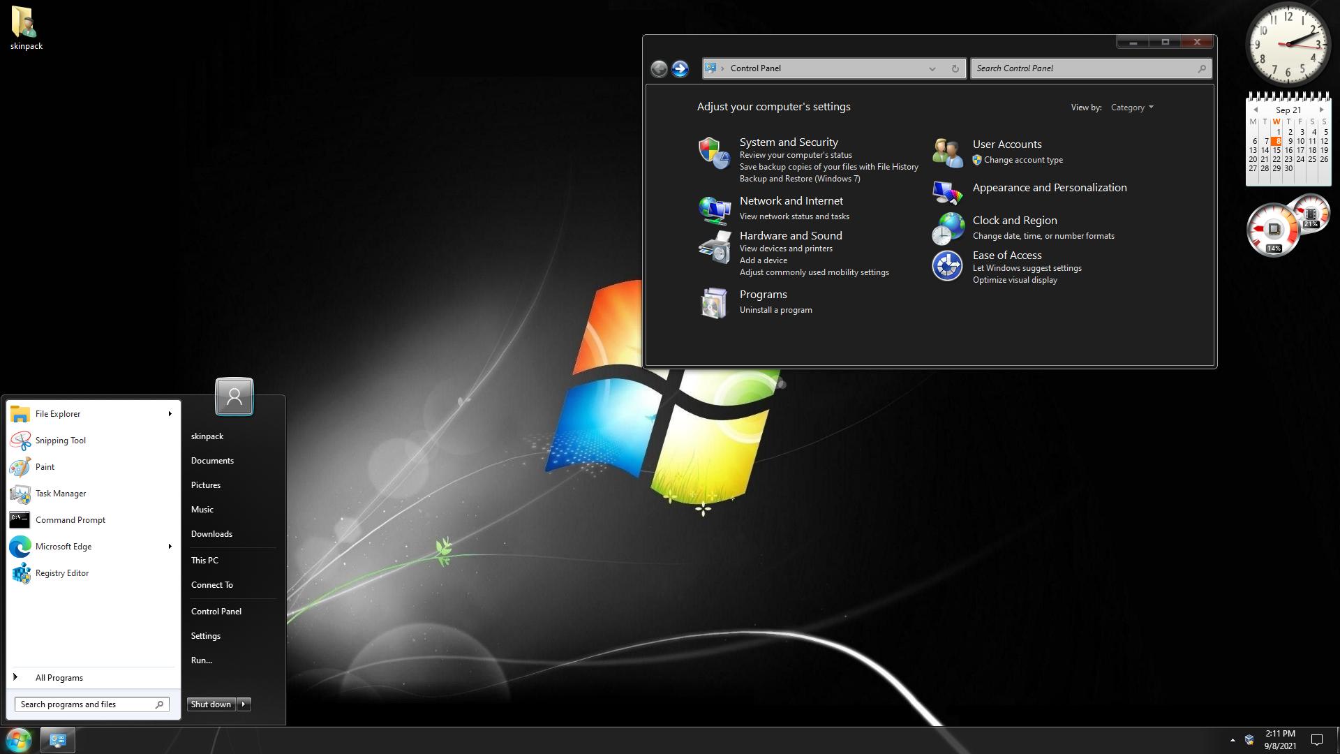 Windows 7 Dark Skin Pack for Windows 10