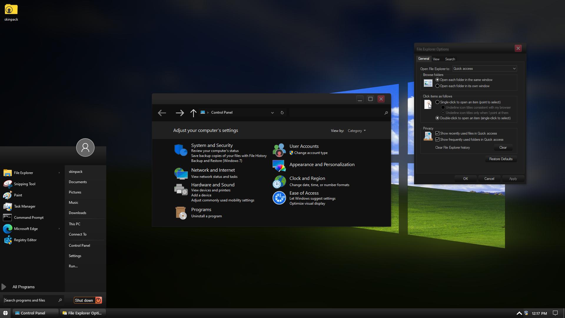 Modern XP Black Skin Pack for Windows 10