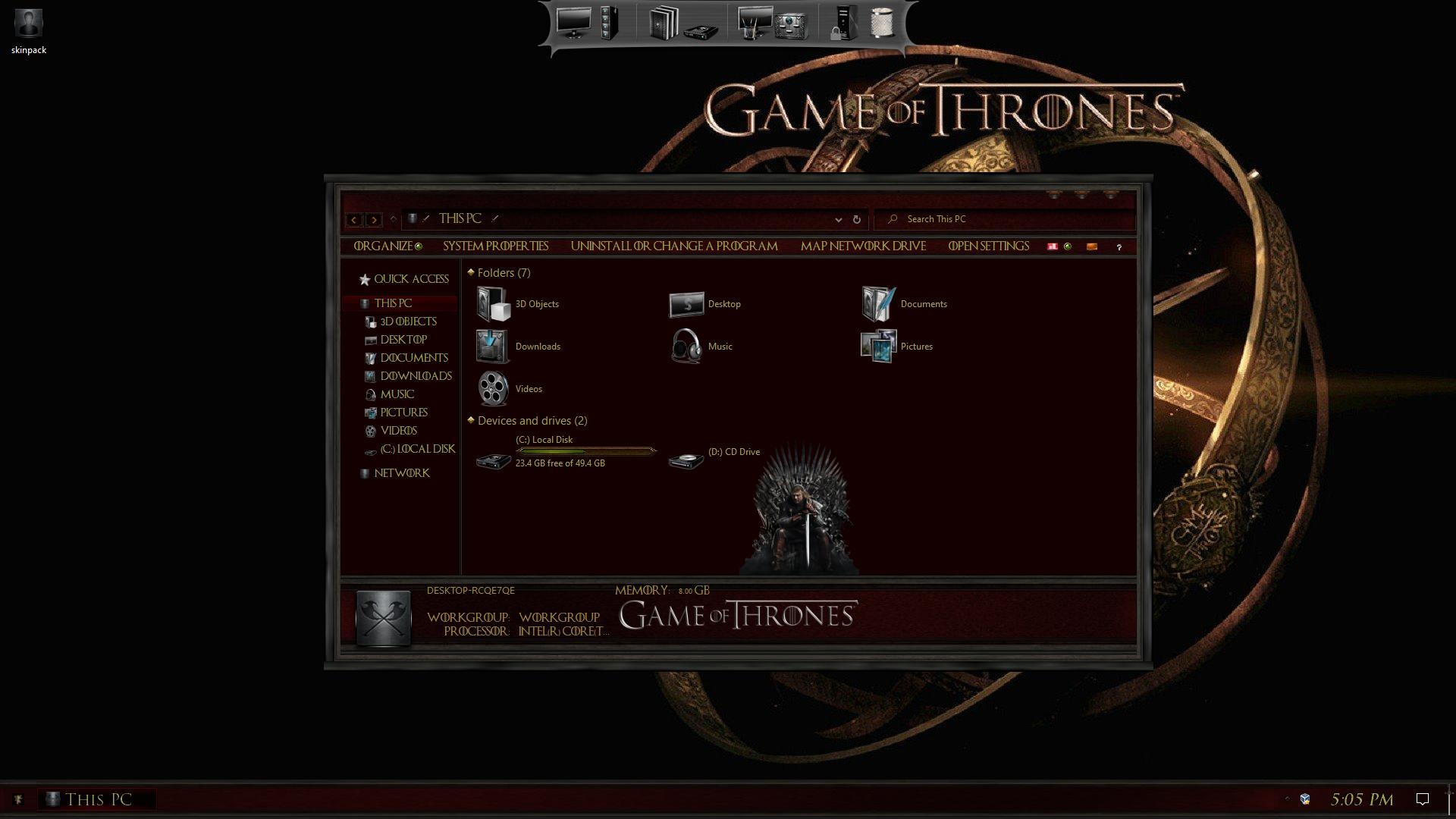 Game Of Thrones Premium SkinPack for Windows 10