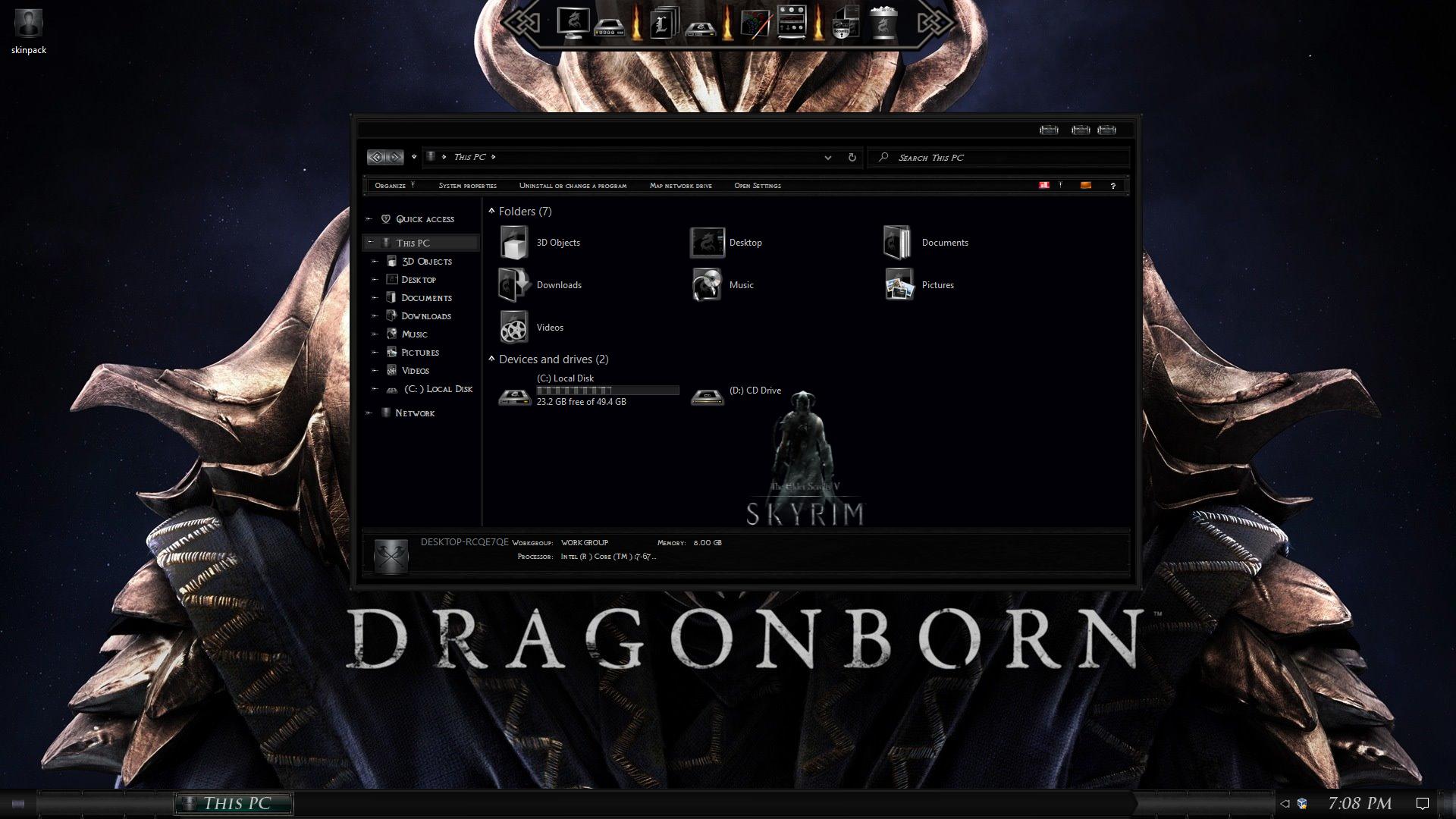Skyrim Dragonborn Premium SkinPack for Windows 10