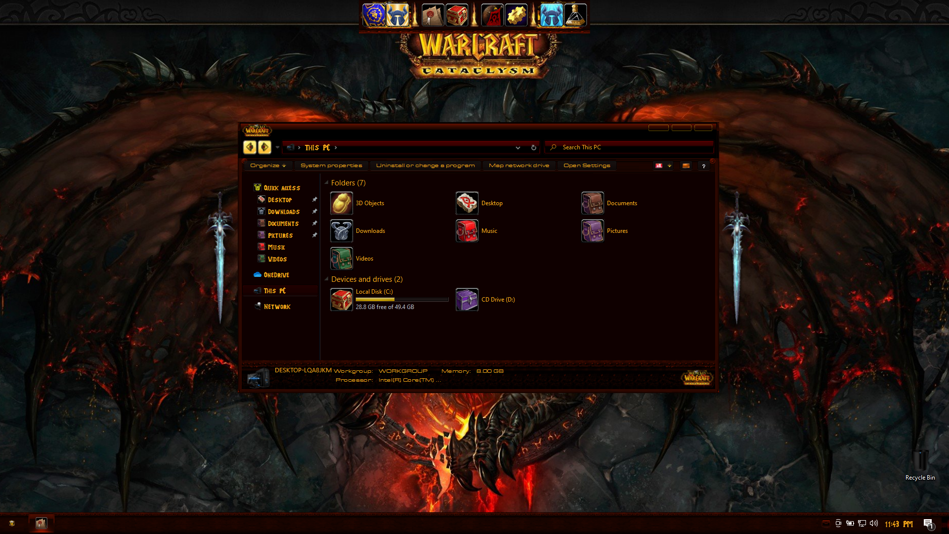 World of Warcraft Cataclysm Premium SkinPack for Windows 10